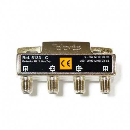 Derivadores a conectores F que pueden trabajar hasta los 2400 MHz.,2 direcciones 23 dB C .