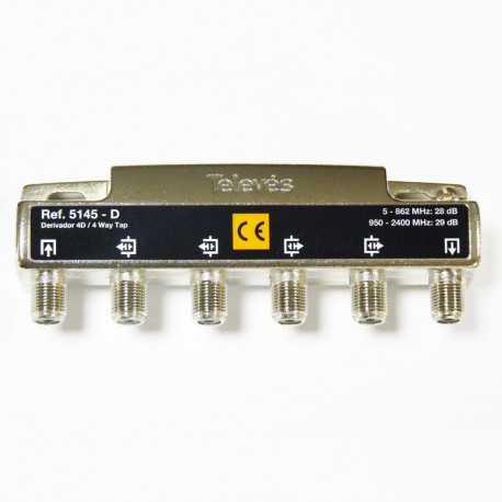 Derivadores a conectores F que pueden trabajar hasta los 2400 MHz.,4 direcciones 29 dB D.