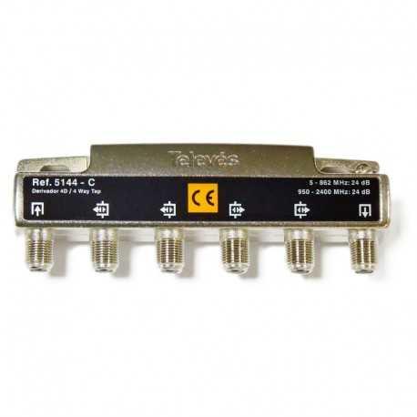 Derivadores a conectores F que pueden trabajar hasta los 2400 MHz.,4 direcciones 24 dB C.