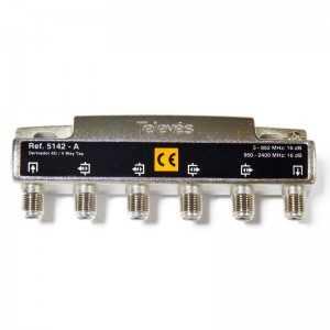 Derivadores a conectores F que pueden trabajar hasta los 2400 MHz.,4 direcciones 16 dB A..