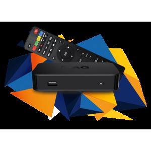 Receptor IPTV, Linux 3.3, Dual Core 750Mhz, RAM 512Mb, WIFI opcional, Ethernet, x2 USB
