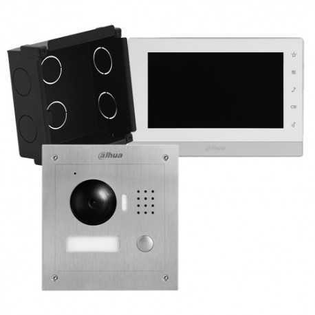Kit unifamiliar de videoportero IP, para supervisión vía smartphone. Sin monitor, uso con móvil. Placa Ikall Metal y Gateway Ma