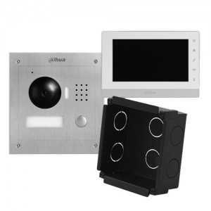 """Kit videoportero IP placa INOX empotrar para supervisión vía smartphone. Con monitor 7"""", uso con móvil. Unifamiliar"""