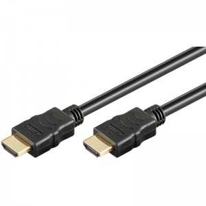 Cable HDMI con conectores bañados en oro de 2 metros. Color negro.