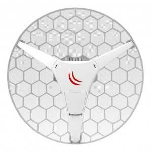 Punto de acceso WIFI exterior 5Ghz, 24.5dBi, 27dBm (500mW), 600Mhz, 64Mb RAM, x1 10/100, 7º, L3