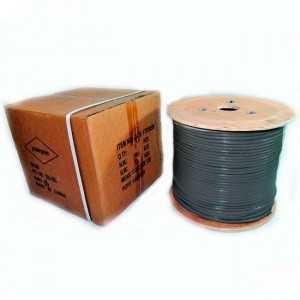 Cable UTP CAT6, CCA (Testeado Fluke), PE negro (Exteriores). Bobina 305mts