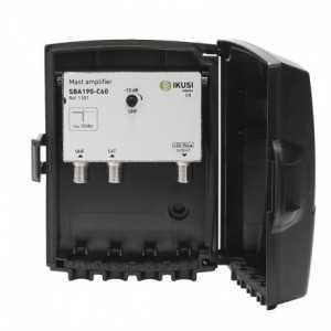 Amplif. multibanda de alta ganancia UHF 470 - 790Mhz y SAT 1950 - 2150 1º dividendo, canal 60, 2 entradas, Ganancia nominal UH