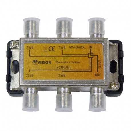 Derivador 4 líneas, 25 dB, 4-2400 MHz.