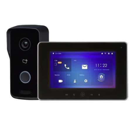 """Kit videoportero IP Wifi, placa de suerficie para supervisión vía smartphone. Con monitor 7"""" Wifi, uso con móvil. Unifamiliar."""