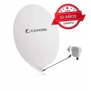 Antena parabólica para TV satélite 75x81cms, 38,25dB, fibra de vidrio, embalaje individual. Cahors