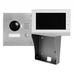 """Kit videoportero IP 2 hilos de superficie, para supervisión vía smartphone. Con monitor 7"""", uso con móvil. Unifamiliar"""