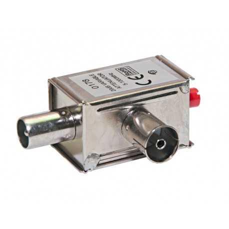 Atenuador regulable de 0-20 dB, VHF/UHF. Sin paso de corriente